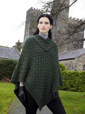 Nua Super Soft Green Merino Wool Aran Poncho