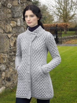 Gray Merino Wool Aran Button Coat