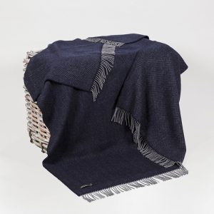 John Hanly Cashmere Navy Gray Herringbone Blanket 1408