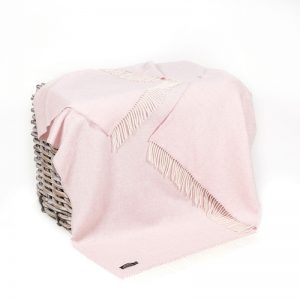 John Hanly Pale Pink Herringbone Blanket