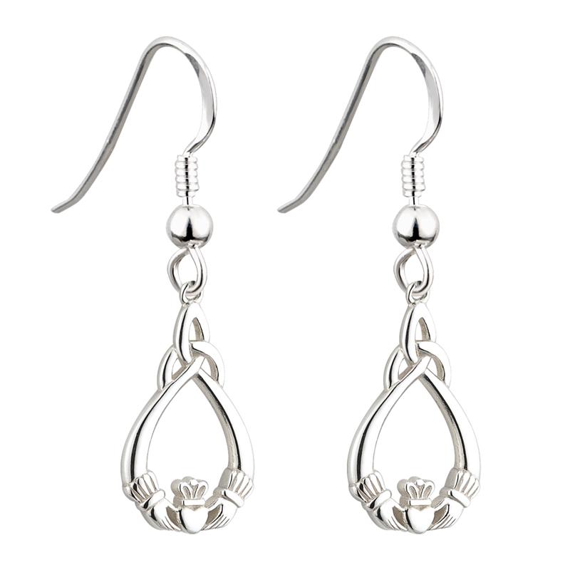 2ed3d882b Solvar Silver Claddagh Trinity Earrings S33178 - Skellig Gift Store