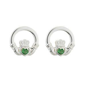 Solvar Silver Claddagh Green Earrings s33915