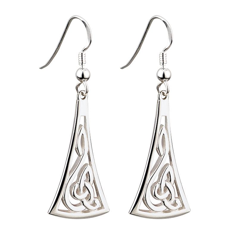 1a788a965 Solvar Silver Long Celtic Earrings s33205-Skellig Gift Store