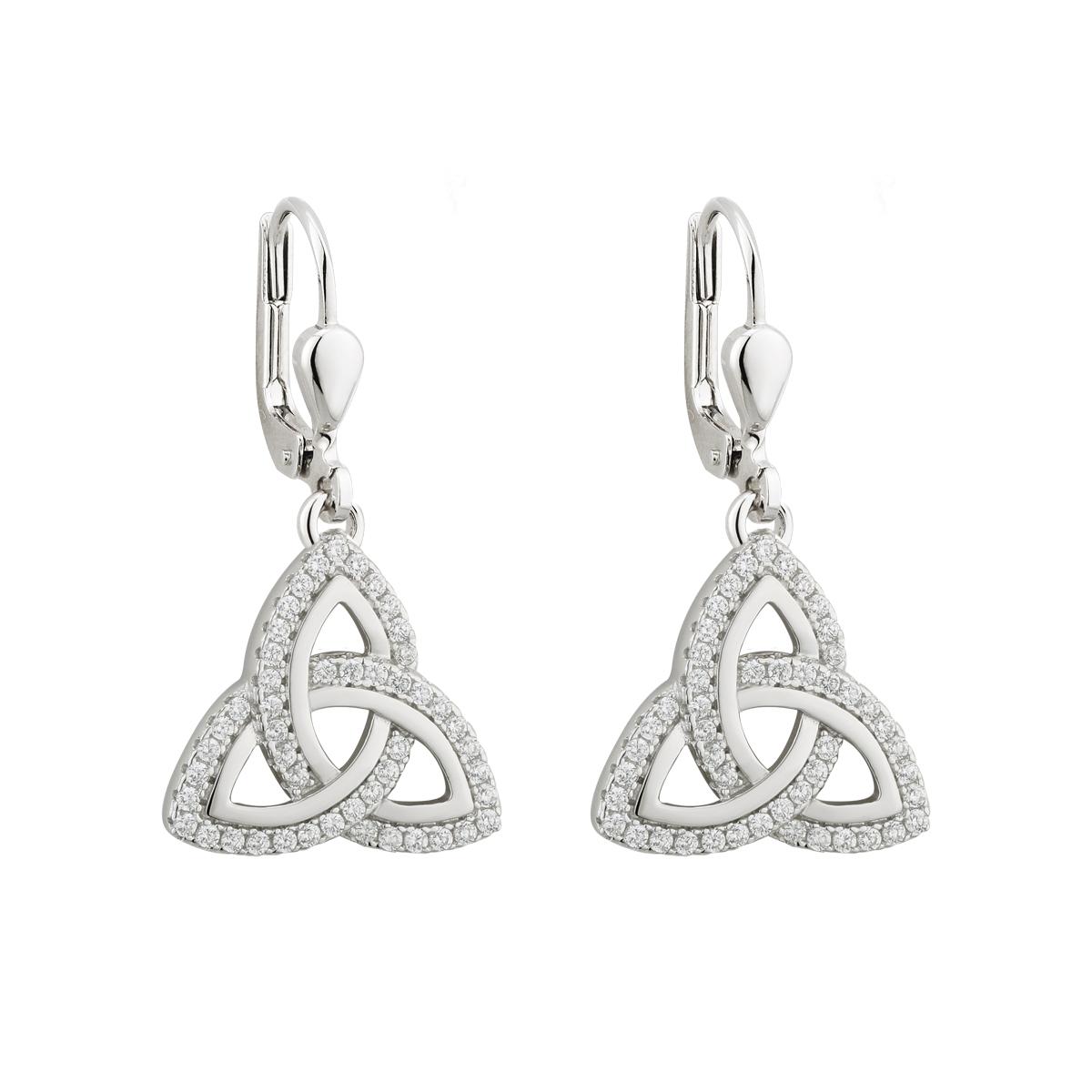 3603db5f6 Solvar Drop Trinity Knot Earrings s33699-Skellig Gift Store