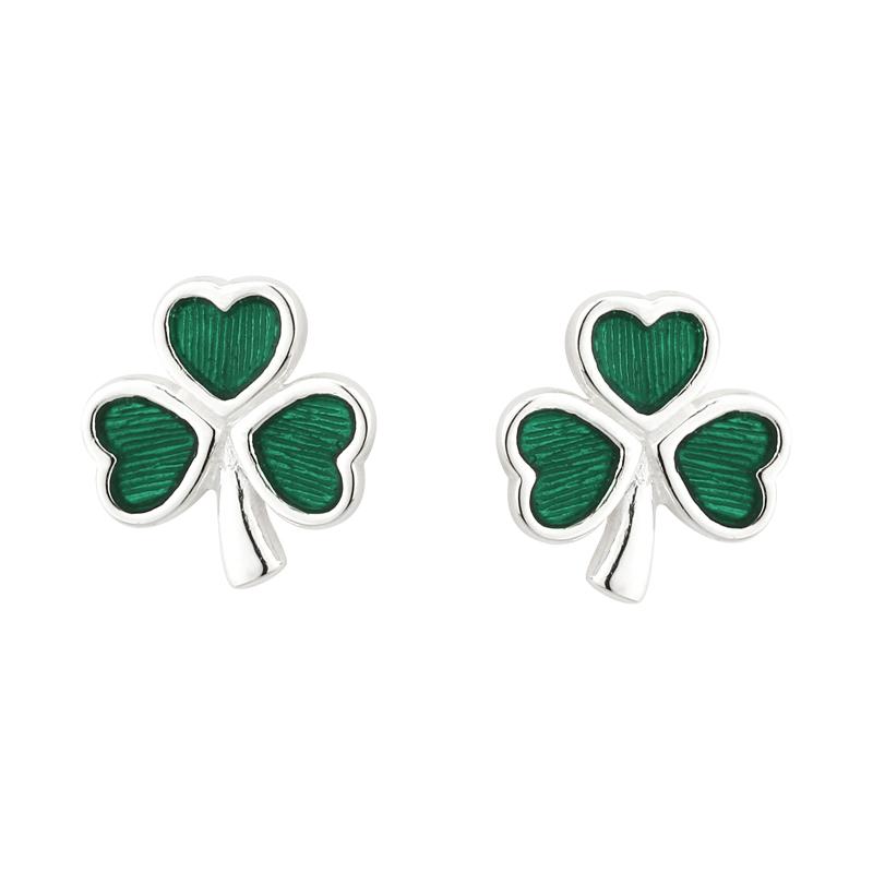 fbb190286 Solvar Silver Green Shamrock Earrings 3147-Skellig Gift Store