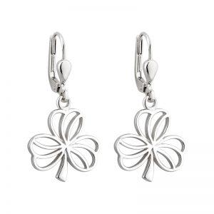 Solvar Silver Drop Shamrock Earrings s33561