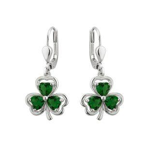 Solvar Silver Shamrock Drop Earrings s33914