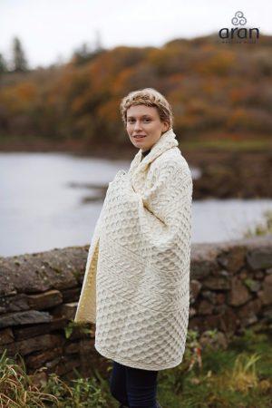 Aran Honeycomb Irish Blanket Throw b888 162