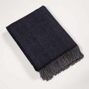 John Hanly Cashmere Navy Gray Herringbone Blanket