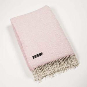 John Hanly Pink Cashmere Herringbone Blanket