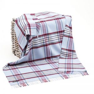 John Hanly Blue Striped Cashmere Blanket