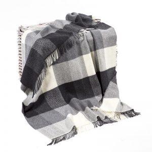John Hanly Black Gray Cashmere Blanket