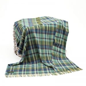 John Hanly Green Lambswool Blanket