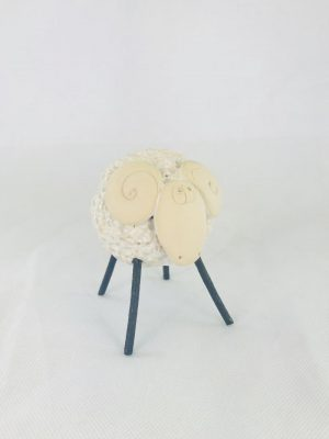 White Pottery Irish Sheep Ornament