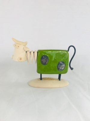 Large Green Pottery Irish Cow