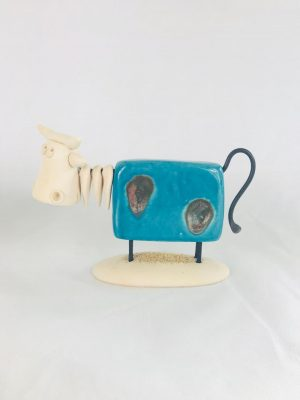 Large Blue Pottery Irish Cow
