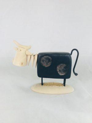 Large Black Pottery Irish Cow