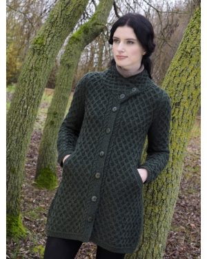 Green Merino Wool Aran Button Coat X4831