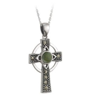 Solvar Connemara Marble Marcasite Cross