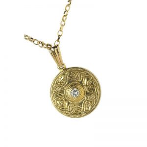 Boru Small Diamond Set Celtic Warrior Pendant