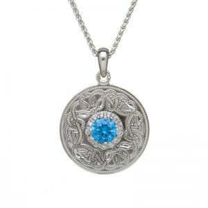 Boru Silver Medium Swiss Blue Celtic Warrior Pendant with Clear CZ