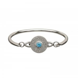 Boru Silver Swiss Blue Celtic Warrior Bangle with Clear CZ