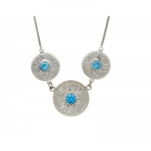 Boru Triple Swiss Blue Celtic Warrior Pendant with Clear Cubic Zirconia