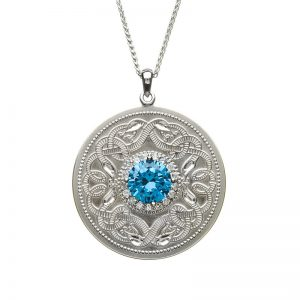 Boru Large Swiss Blue Celtic Warrior Pendant with Clear Cubic Zirconia