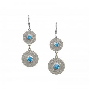 Boru Swiss Blue Double Earrings with Clear Cubic Zirconia