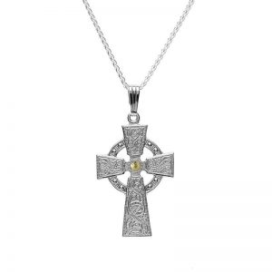 Boru Celtic Warrior Cross With 18K Gold Bead