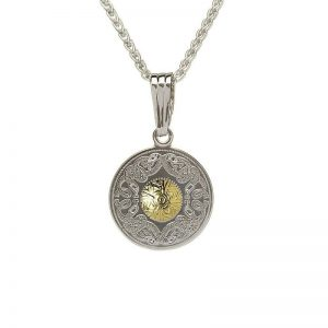 Boru Small Celtic Warrior Pendant-Silver with 18K Gold Bead