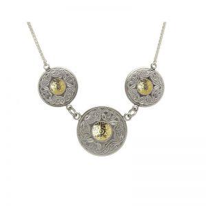 Boru Silver Triple Celtic Warrior Pendant with 18K Gold Beads
