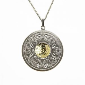 Boru Extra Large Silver Celtic Warrior Pendant with 18K Gold Bead