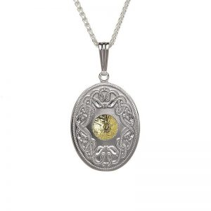 Boru Silver Oval Celtic Warrior Pendant with 18K Gold Bead