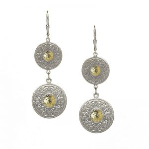 Boru Silver Double Celtic Warrior Earrings with 18K Gold Bead