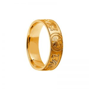 14k Gold Gents Warrior Shield Wedding Ring