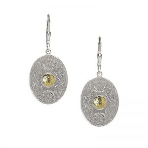 Boru Silver Oval Celtic Warrior Earrings with 18K Gold Bead