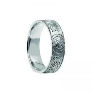 14k White Gold Gents Warrior Shield Wedding Ring