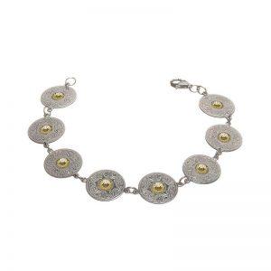 Boru Large Silver Celtic Warrior Disc Bracelet with 18K Gold Beads