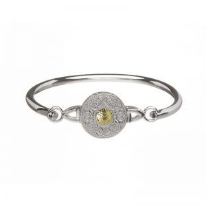 Boru Large Silver Celtic Warrior Bangle with 18K Gold Bead