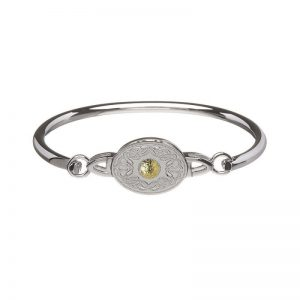 Boru Oval Silver Celtic Warrior Bangle with 18K Gold Bead