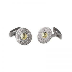 Boru Small Silver Celtic Warrior Cuff Links with 18K Gold Bead