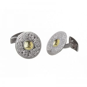 Boru Large Silver Celtic Warrior Cuff Links with 18K Gold Bead