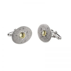 Boru Oval Silver Celtic Warrior Cuff Links with 18K Gold Bead