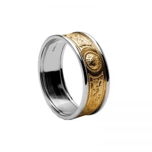 14k Yellow & White Gold Gents Warrior Shield Wedding Ring