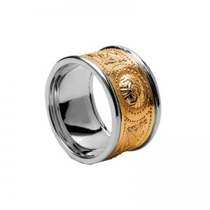 14k Two Tone Gold Gents Warrior Shield Wedding Ring