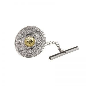 Boru Large Silver Celtic Warrior Tie Tac with 18K Gold Bead