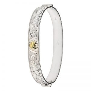 Boru Silver Celtic Warrior Detailed Bangle with 18K Gold Bead