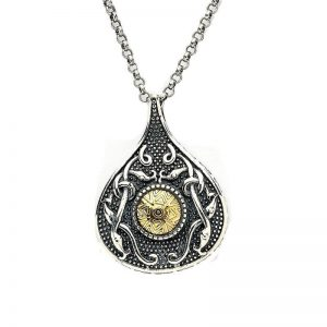Boru Wood Quay Silver Teardrop Pendant with 18K Gold Bead