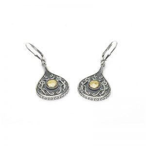 Boru Wood Quay Silver Teardrop Earrings with 18K Gold Bead